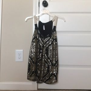 Women's black and gold sequin tank top